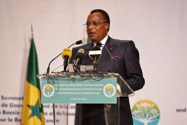 Le Président du la République du Congo Denis Sassou Nguesso à Brazzaville, au sommet des chefs d'Etat pour le Fonds bleu le 29 avril 2018.
