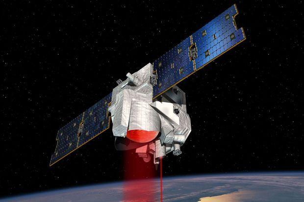 Vue d'artiste du satellite Merlin, dont le laser et le télescope permettront de mesurer les concentrations de méthane dans l'atmosphère.