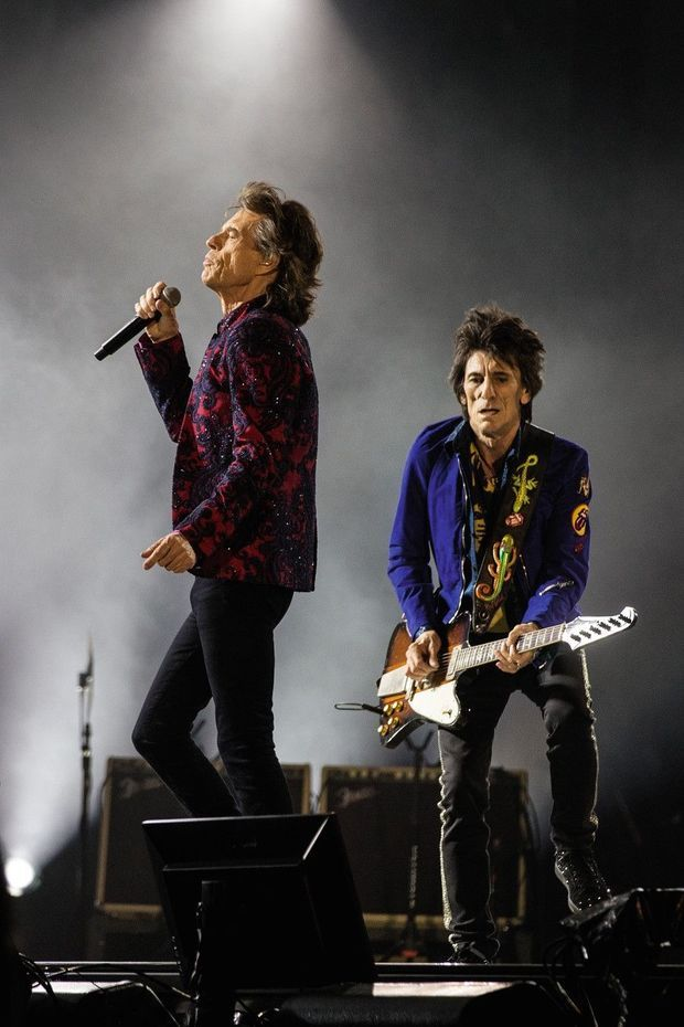 Mick Jagger et Ronnie Wood : Les Rolling Stones en concert à Copenhague, le 3 octobre 2017.