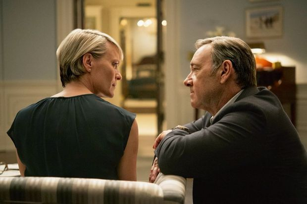 "Robin, dans ""House of Cards"", avec Kevin Spacey."