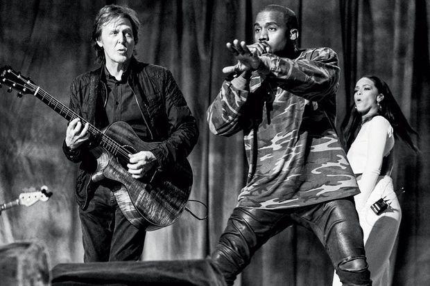 Paul avec Kanye et Rihanna lors des Grammy Awards 2015.