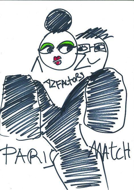Le dessin qu'Alber Elbaz avait griffonné pour Paris Match.
