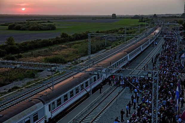 A Tovarnik, le 19 septembre. Sous le contrôle des autorités croates, les migrants embarquent dans le calme. Mais l'arrivée du train suivant, sous la pluie, donnera lieu à une violente cohue.