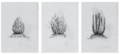 Ses dessins préparatoires imaginant la sculpture aux prises avec la nature.