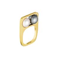 Dinh Van Bague 2 perles en or jaune, perles Akoya et de Tahiti (grand modèle).