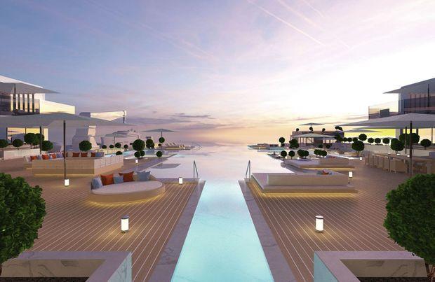 Une piscine de 480 m2.