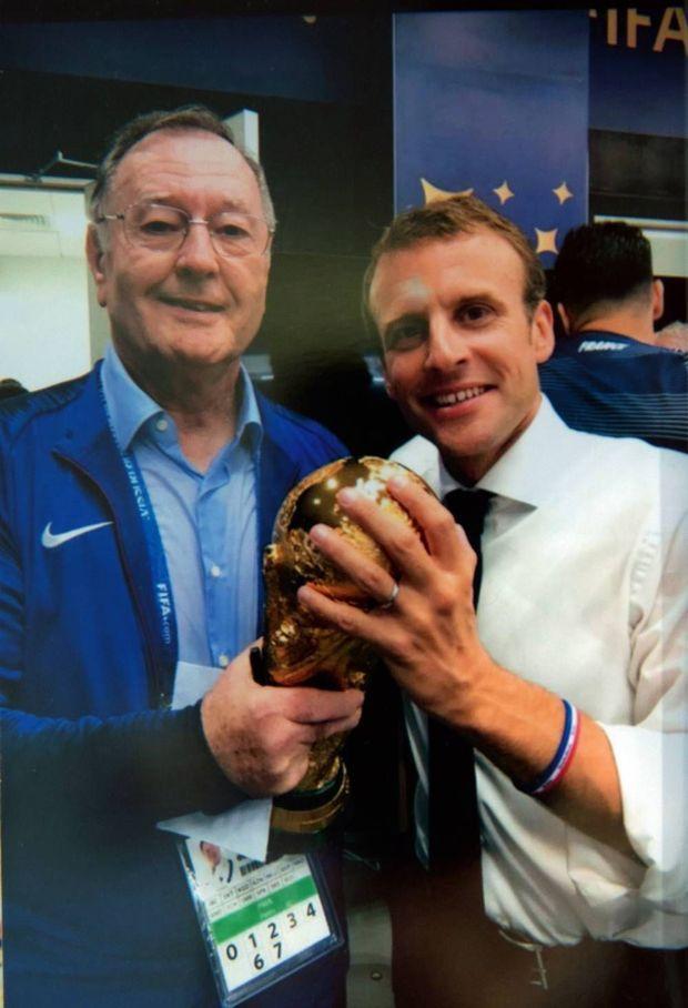 Le soir de la victoire au Mondial 2018 en Russie, avec Emmanuel Macron, « son » cinquième président.