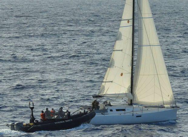 """Le """"Relambi"""", affrété par Rocco et Antonio Magnoli ,est arraisonné par la marine nationale au large de Saint-Martin avec 90 kilos de cocaïne lke 8 juin 2015."""