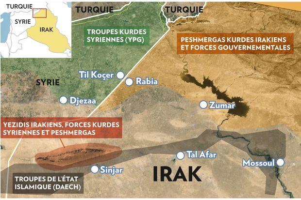 La répartition des troupes combattantes en présence dans la région à cheval entre la Turquie, la Syrie et l'Irak.