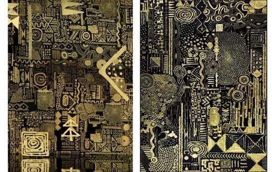 A gauche, une capture d'écran du décor du clip, à droite, l'œuvre dont il est inspiré, « Constellation III ».