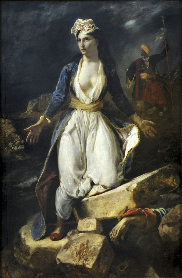 """""""La Grèce sur les ruines de Missolonghi"""", d'Eugène Delacroix (1826)."""