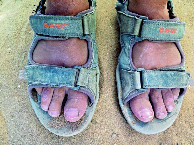 Aucune ampoule avec ces sandales tout-terrain, mais parfois quelques nids de puces sous les ongles.