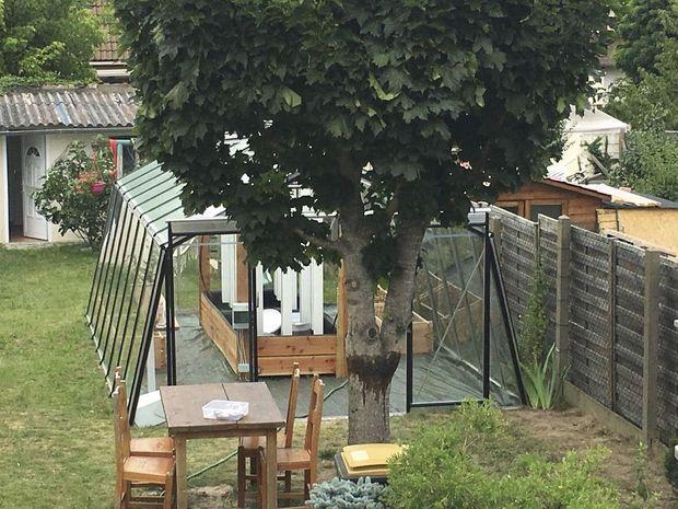 Le chef de Luzzu a glissé sa serre entre deux jardins de banlieue près de Paris. Il cueille chaque jour ce qu'il lui faut pour ses deux restaurants