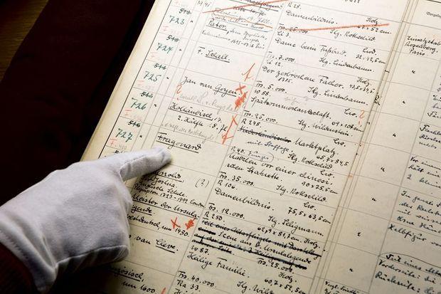 Retrouvé en 1945, le carnet de Göring recense ses trouvailles. Il est annoté par ses secrétaires.