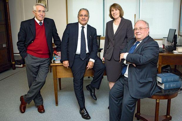 De g. à dr. : l'équipe des Archives diplomatiques, Frédéric Baleine du Laurens, Richard Boidin, Isabelle Richefort et Pascal Even.