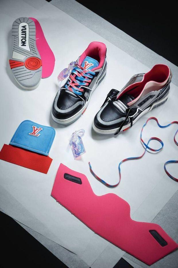 Les baskets LV Trainer Upcycling imaginées par Virgil Abloh pour Louis Vuitton à partir d'anciennes sneakers de la griffe.