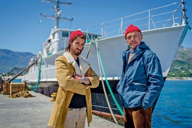 Avec Lambert Wilson, père et fils Cousteau sur le tournage de « L'odyssée », en salle le 12 octobre.