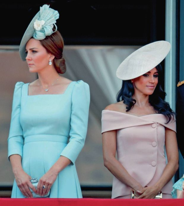 Kate et Meghan pendant la cérémonie du Trooping the Colour, le 9 juin 2018.