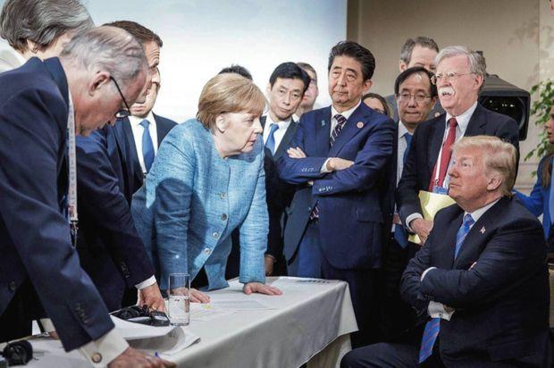 Pugnace face à Donald Trump lors du G7 de La Malbaie, au Canada, le 9 juin 2018.