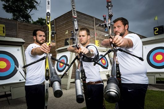 Les archers Lucas Daniel, Jean-Charles Valladont et Pierre Plihon.