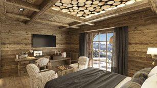 Une des huit chambres. Toutes ont une vue sur la montagne.