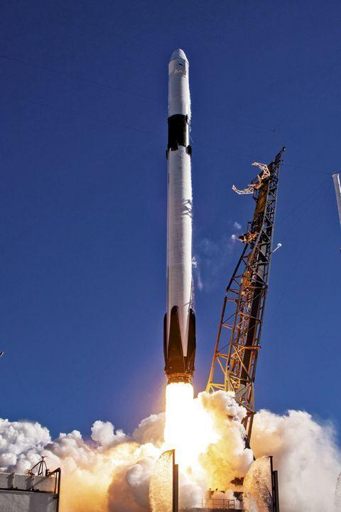 Le décollage, à bord de la fusée Falcon 9, le 3 décembre 2018.