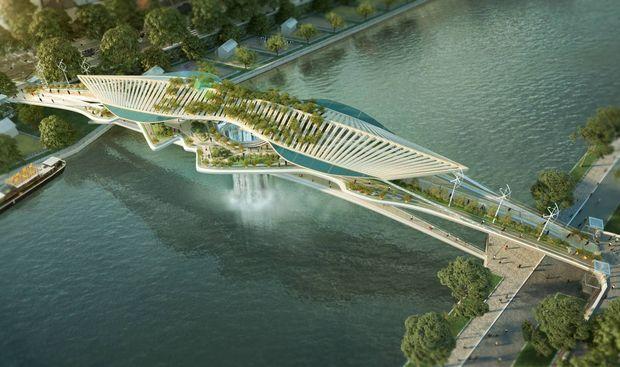 La cascade sera alimentée par la Seine dans un flot continu.