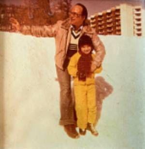 A 5 ans avec son père, en 1978, à Vars, dans les Hautes-Alpes