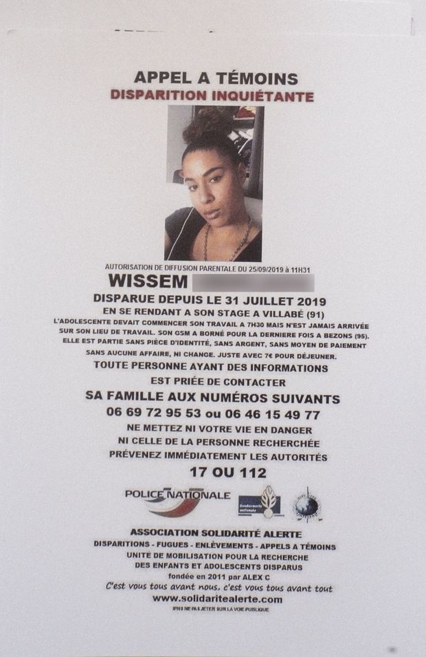 L'avis de recherche de Wissem, 16 ans, disparue le 31 juillet 2019.