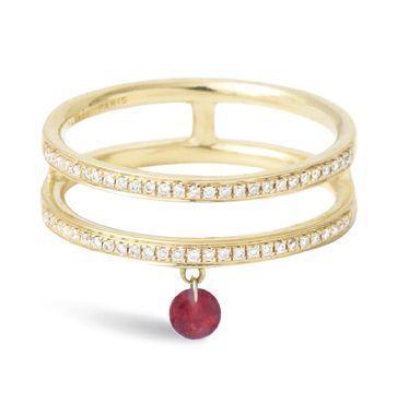 Bague Zeux en or jaune, diamants et rubis, Persée, 1 200 €.
