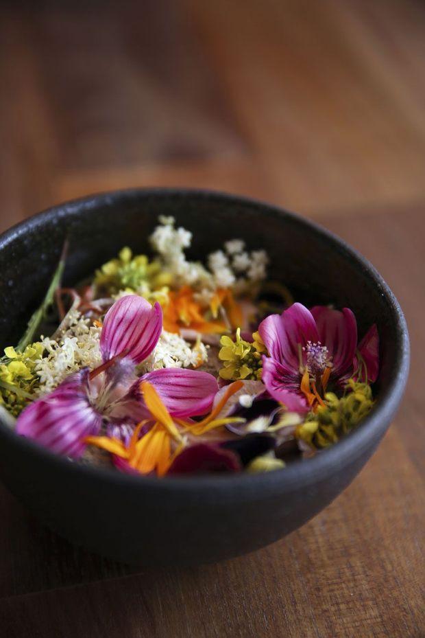 Un exemple d'expérience gustative : le ragoût d'argile avec tubercule andin et pétales de fleurs.