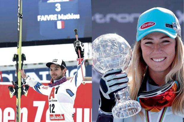 A Saalbach en Autriche, le 19 décembre 2018, Mathieu Faivre monte sur le podium à la 3e place du géant. A d.: Une saison 2018 conclue en beauté avec ce 4e Globe de cristal qui confirme sa domination sur le ski mondial.