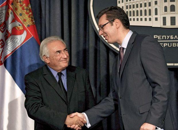 Avec Aleksandar Vucic, vice-premier ministre serbe, le 17 septembre 2013.