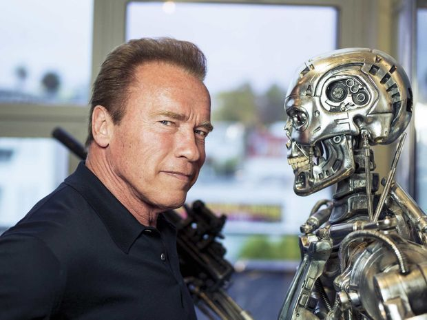 "Face au squelette de ""Terminator"", un rôle qui lui colle à la peau."