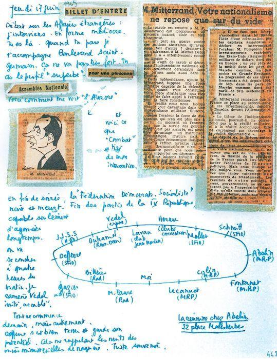 """Jeudi 17 juin 1965 « Débat sur les Affaires étrangères : j'interviens. En forme médiocre. […] Voici comment me voit """"L'Aurore"""". »"""
