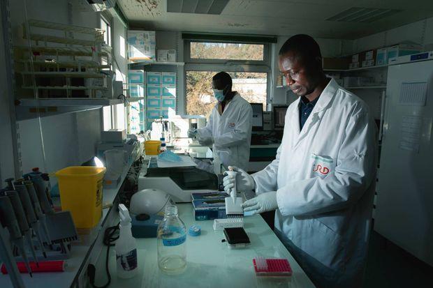 A l'IRD de Montpellier, les chercheurs congolais Antoine Nkuba (devant) et Eddy Kinganda préparent des échantillons de sang humain en provenance de pays africains.