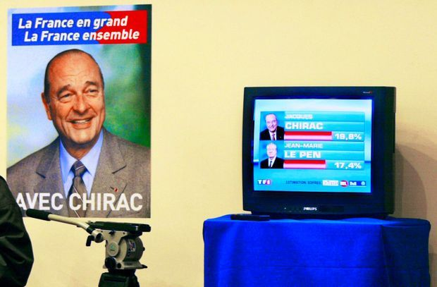 Au soir du premier tour de la présidentielle, le 21 avril 2002, le choc : Jean-Marie Le Pen talonne Jacques Chirac. Lionel Jospin est éliminé.