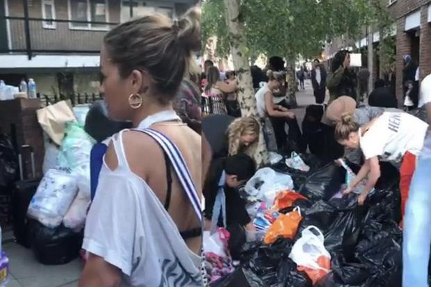 Rita Ora vient en aide aux victimes à Londres, le 14 juin 2017.