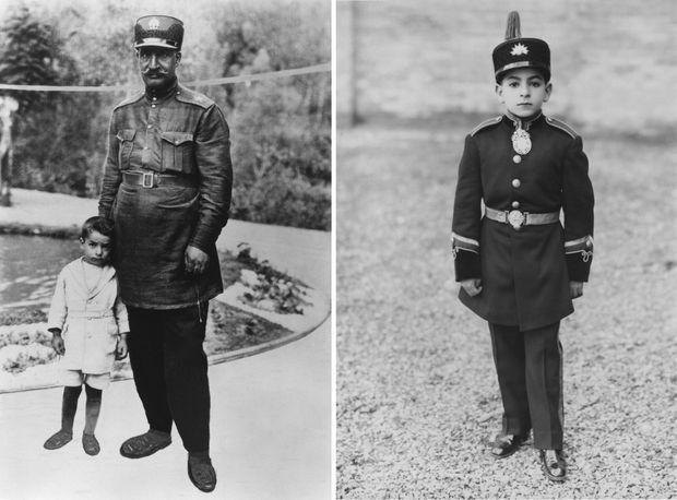 """""""Auprès de son père qui vient de se proclamer Roi, le futur Shah, Mohamed Reza"""" - Paris Match n°1548, 26 janvier 1979. À droite, Mohamed Reza, 6 ans."""