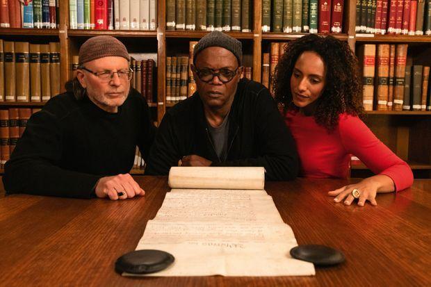 Le réalisateur Simcha Jacobovici, Samuel L. Jackson et la journaliste britannique Afua Hirsch, qui a participé à l'enquête.