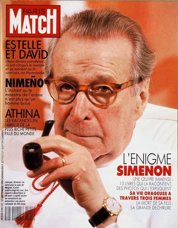 La disparition de Georges Simenon en couverture de Paris Match, n°2104, daté du 21 septembre 1989.