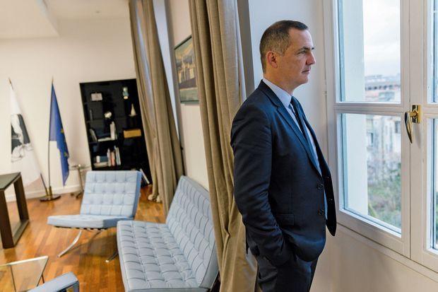 Gilles Simeoni dans son bureau du conseil exécutif de Corse, à Ajaccio.