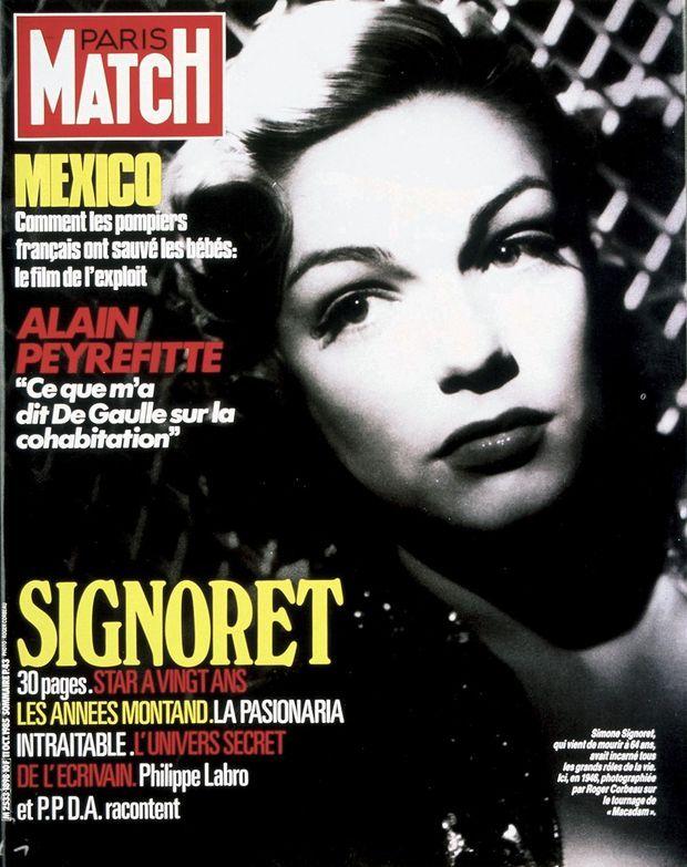 La disparition de Simone Signoret en couverture de Paris Match n°1898, daté du 11 octobre 1985.