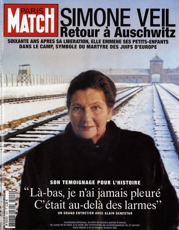 « Simone Veil, retour à Auschwitz ». La couverture du numéro 2904 de Paris Match, daté du 13 janvier 2005.