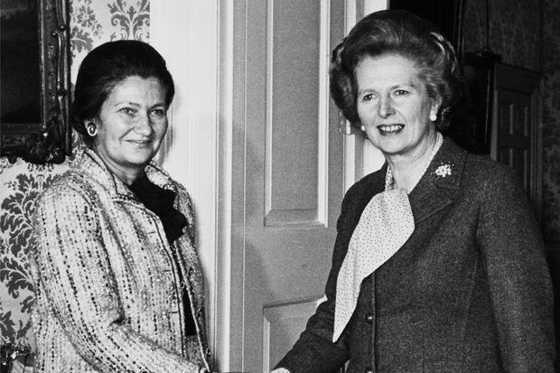 Avec Margaret Thatcher, chef du gouvernement britannique, à Londres le 10 novembre 1980.