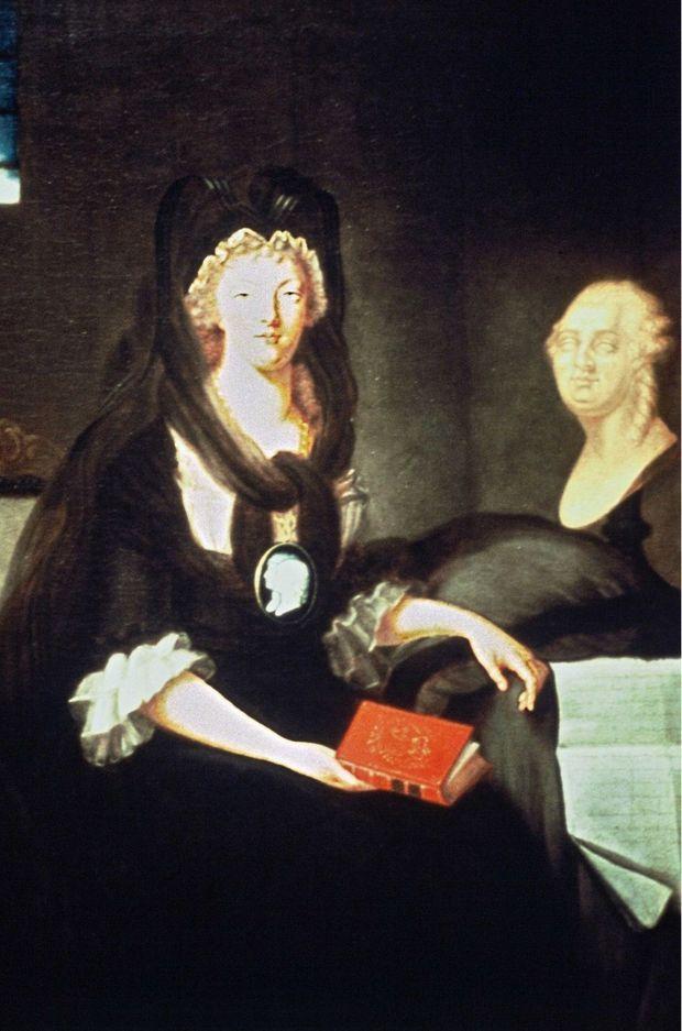 Peinture figurant Marie Antoinette emprisonnée a la Conciergerie en 1793