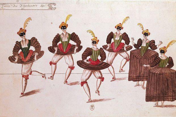 """Dessin de l'""""Entrée des Esperducattis"""" lors du """"Ballet des Ridicules"""", dansé par Louis XIII à Saint-Germain le 12 janvier 1628"""