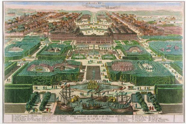 Gravure de la ville et du château de Versailles, datée de 1793