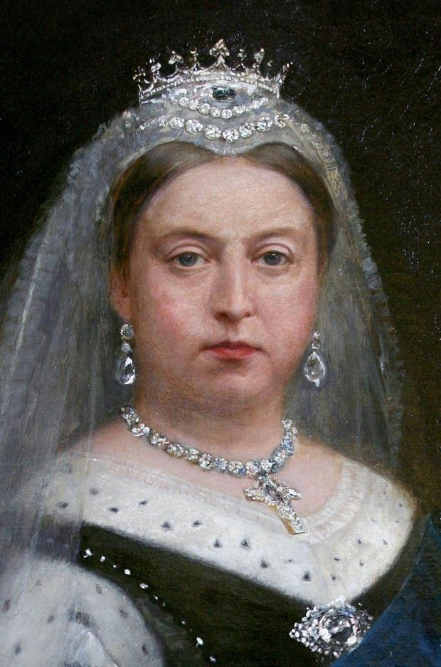 Portrait de la reine Victoria portant sa tiare en saphirs et diamants (détail)