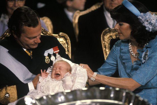 La princesse Madeleine de Suède lors de son baptême le 31 août 1982 à Stockholm